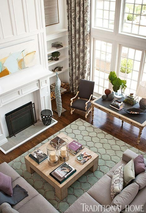 Color and pattern can be used to break up big expanses of walls in a great  room or cut the size of a tall wall down to a more comfortable height. - How To Make Large Rooms Look Cozy? - Susanna Junnikkala