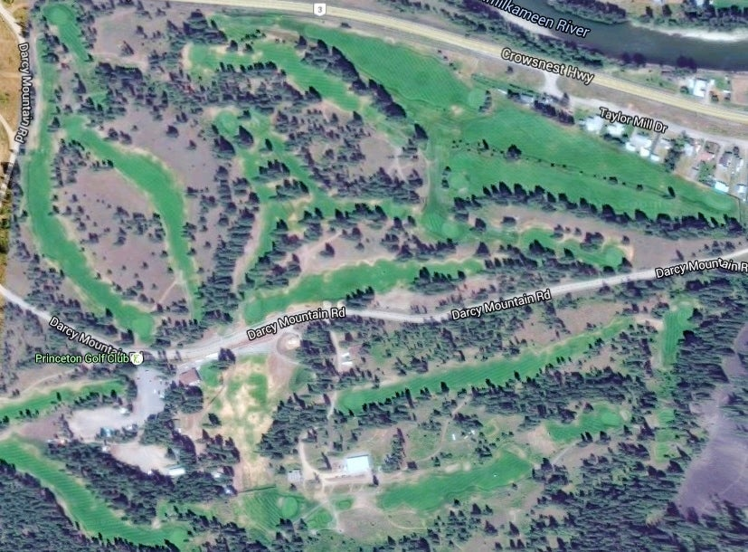Aerial view of the golf course in Princeton BC
