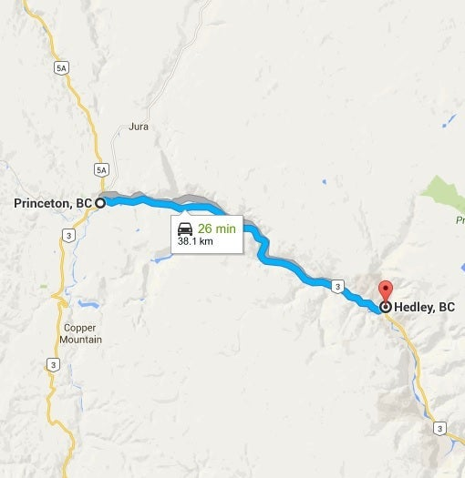 Princeton to Hedley