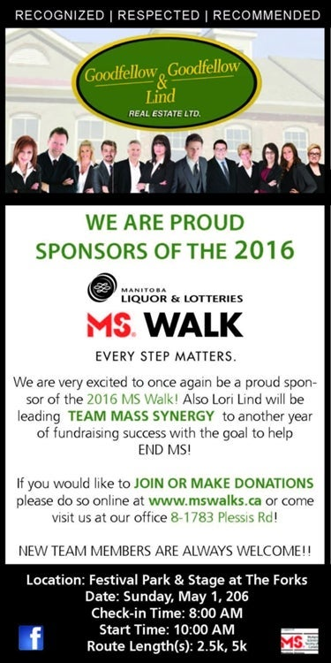 ms, ms walk, 2016, manitoba liquor and lotteries, sponsors, goodfellow, lind, transcona, community, charity, end ms, we will end ms, olaf, team, winnipeg, manitoba, realtors, real estate, homes