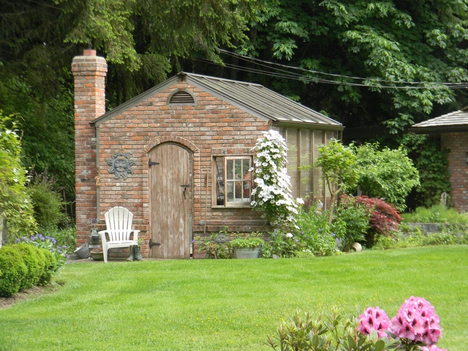 Adorable brick greenhouse