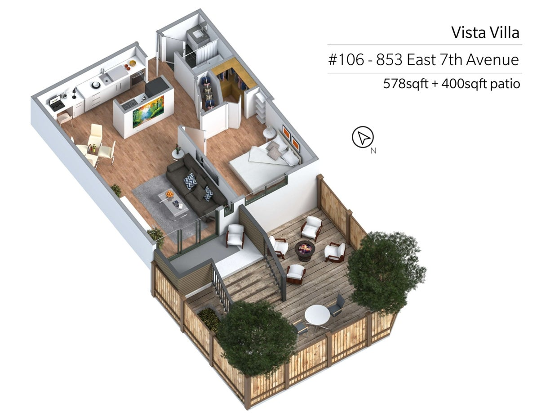 106 - 853 East 7th Avenue, Vancouver - Mount Pleasant VE Apartment/Condo for sale, 1 Bedroom  #20