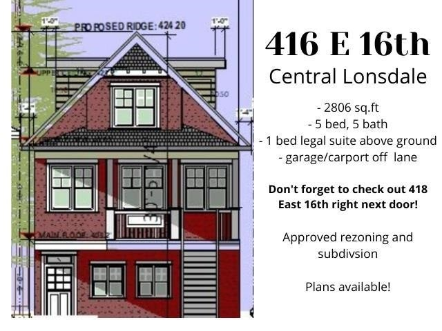 416 E 16 STREET - Central Lonsdale House/Single Family for sale, 5 Bedrooms (R2591234)