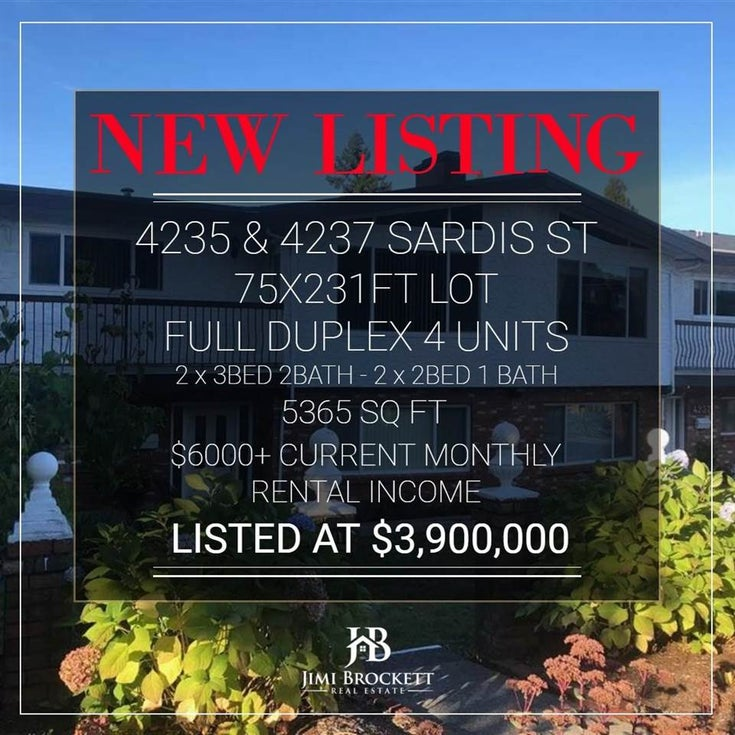 4235 SARDIS STREET - Central Park BS Duplex for sale, 8 Bedrooms (R2573988)