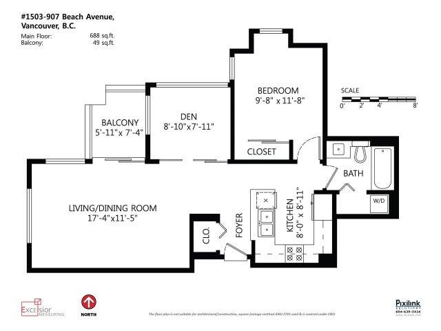 1503 907 BEACH AVENUE - Yaletown Apartment/Condo for sale, 1 Bedroom (R2035362) #16