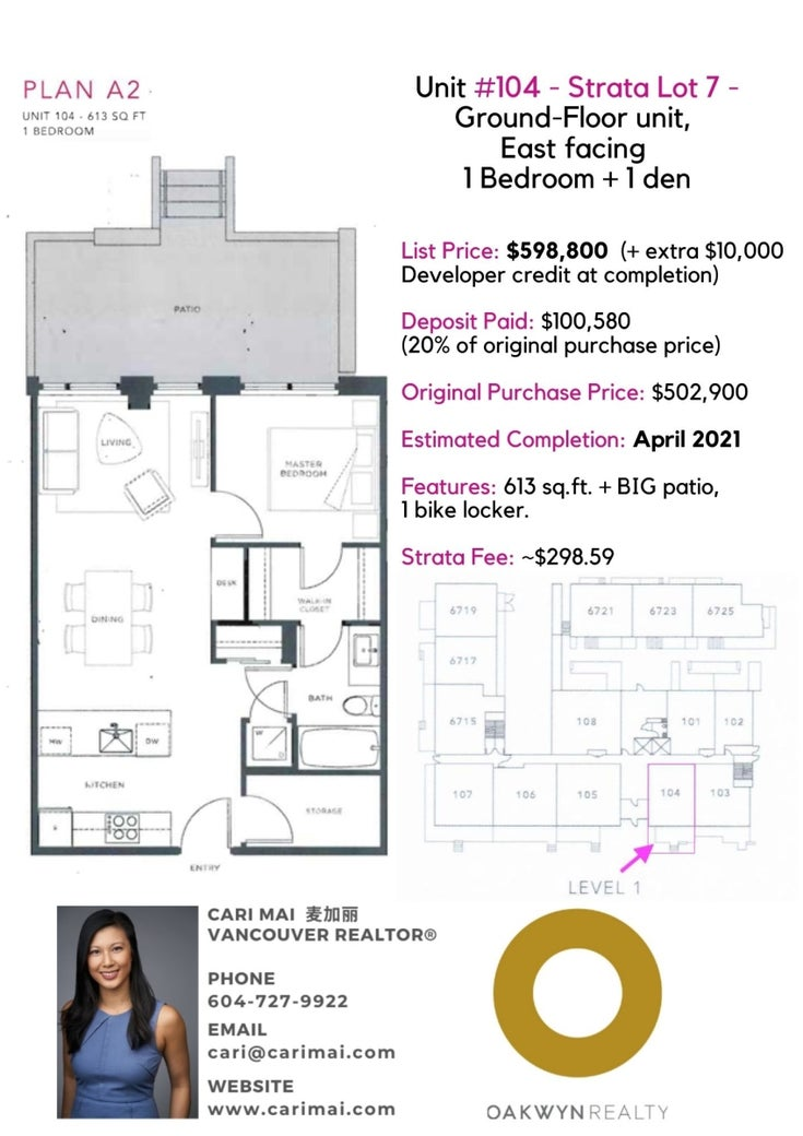 6733 Cambie St, unit #104 - South Cambie Apartment/Condo for sale, 1 Bedroom