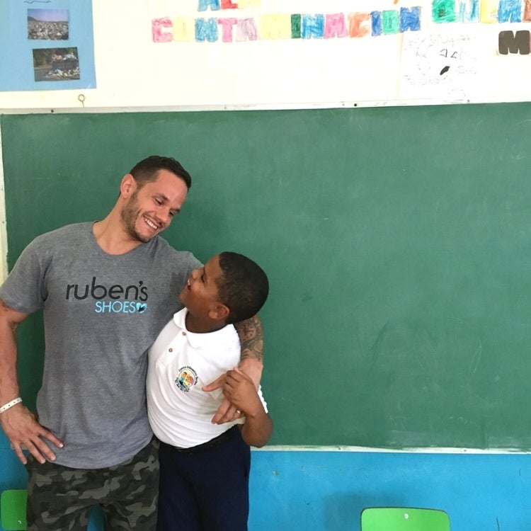 Image of Dave Masson at the Ruben's Shoes school in the Dominican Republic