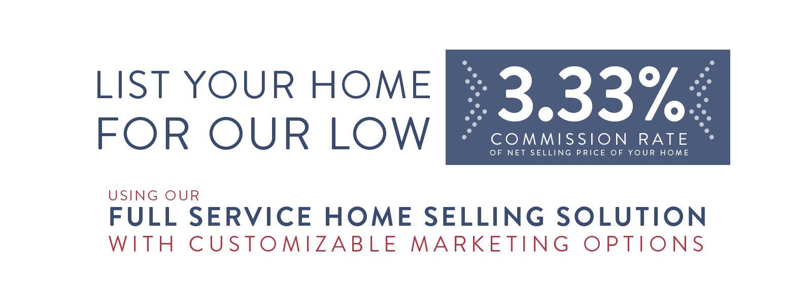 List your home for our low 3.33% commission rate of net selling price of your home using our full service home selling solution with customizable marketing options.