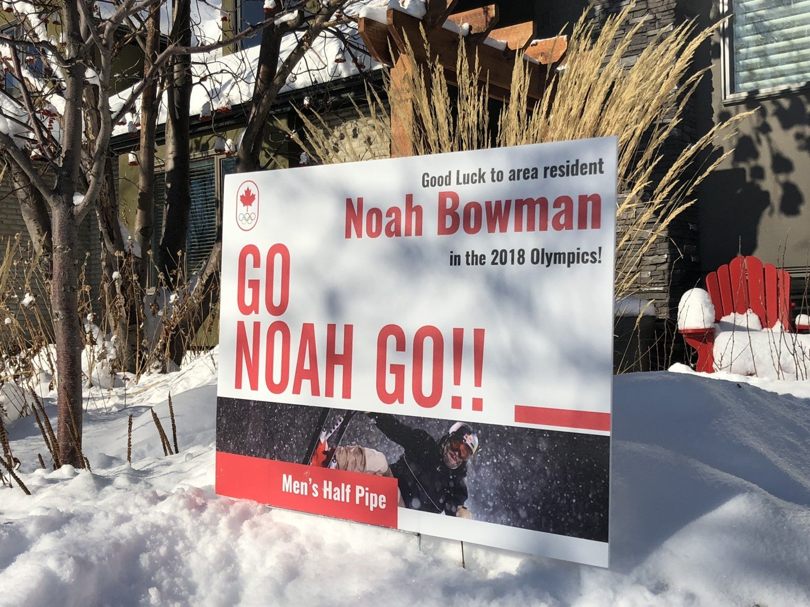 Sign in Hillhurst supporting Noah Bowman Canadian Olympian