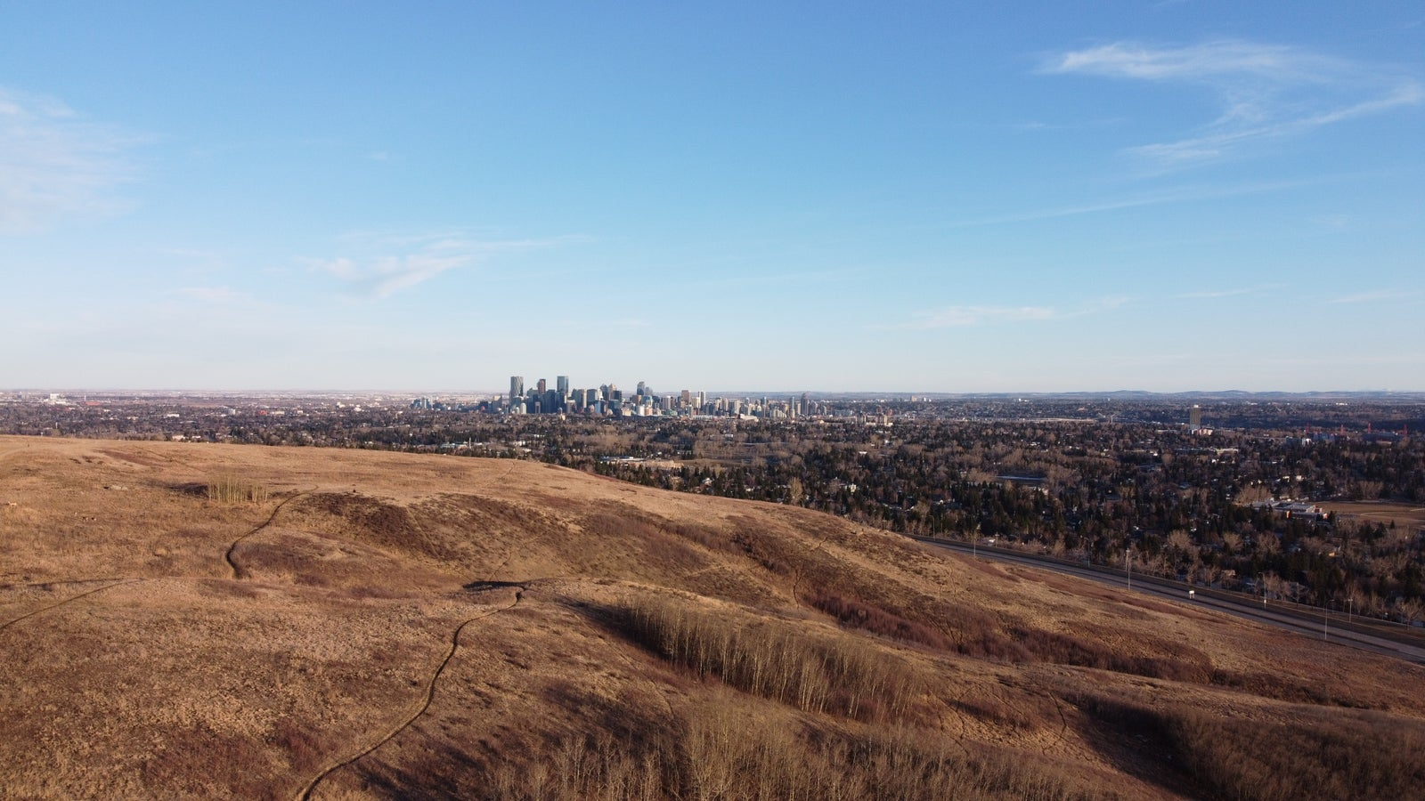 Nose Hill Park overlooking Triwood and Downtown Calgary