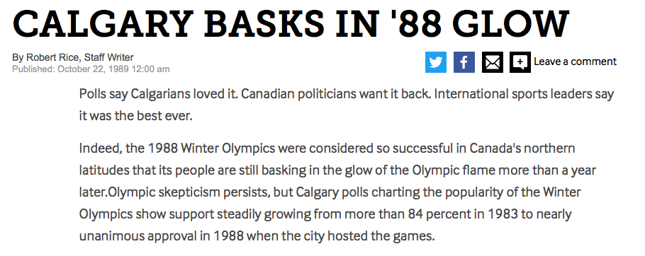 Calgary Olympic Newspaper Clipping 1989