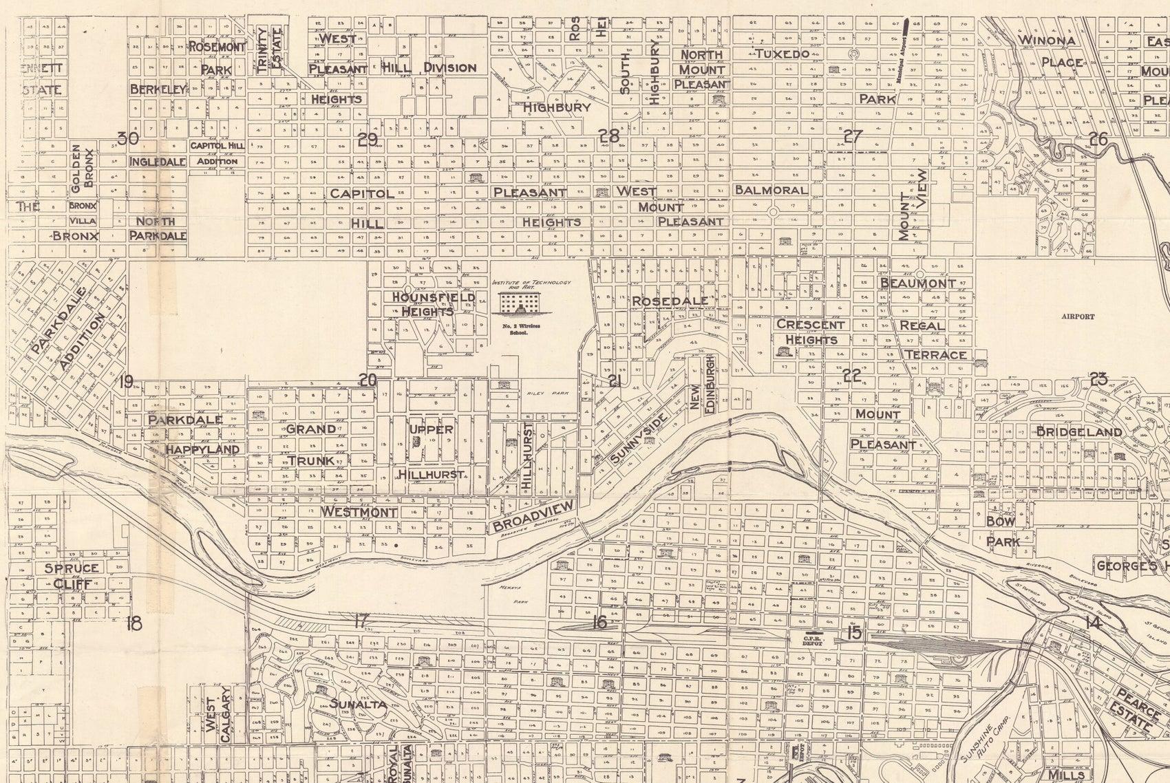 Historic Map of Calgary 1946