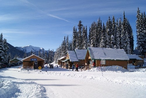 Snowy cabins at Manning park