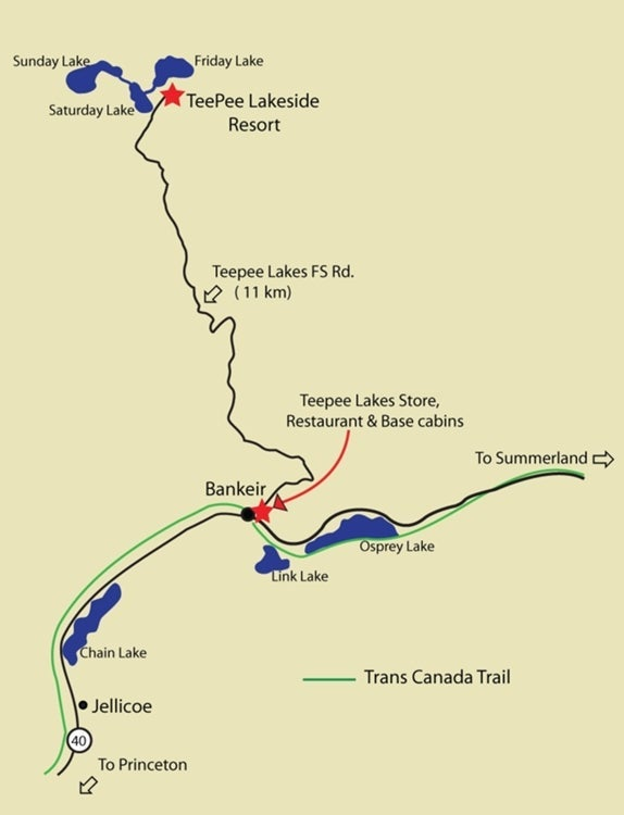 Teepee Lakes Road Map
