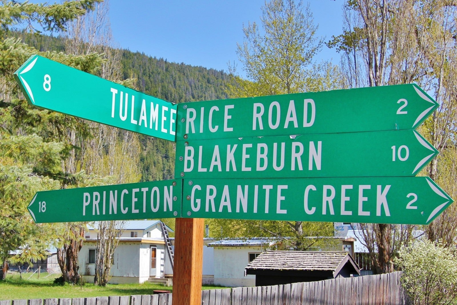 Road signs for Princeton BC and Granite Creek