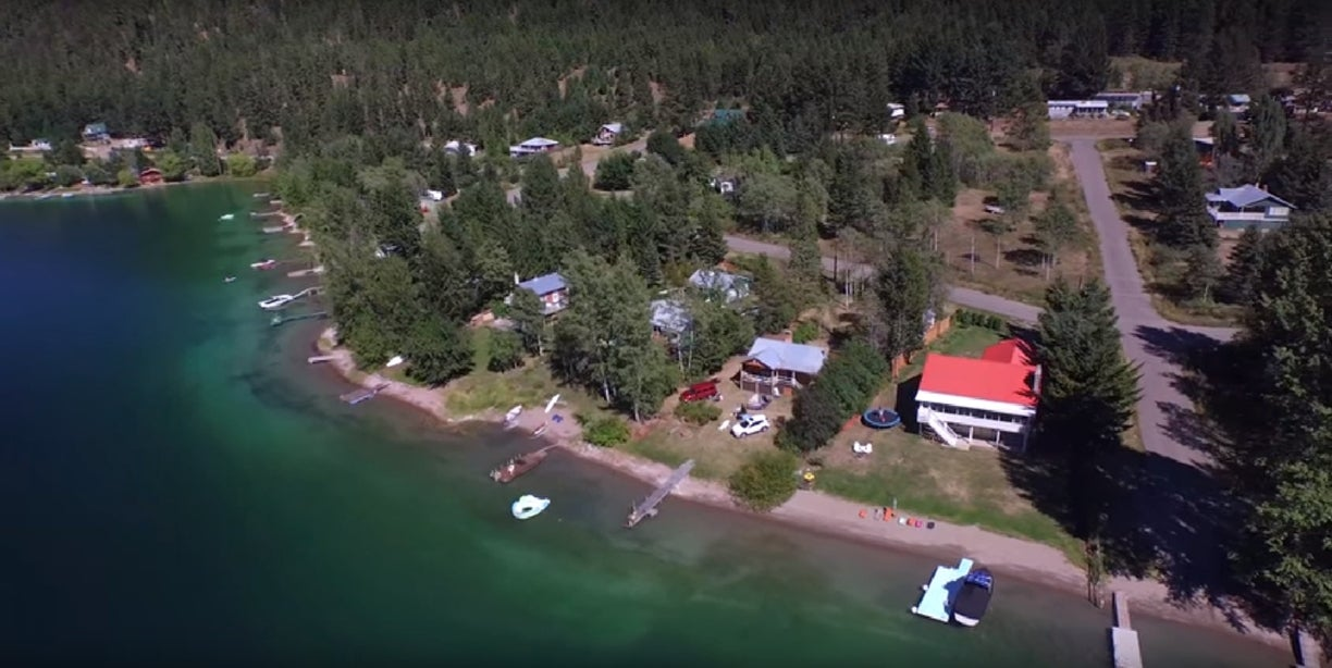 Aerial view of homes along Allison Lake