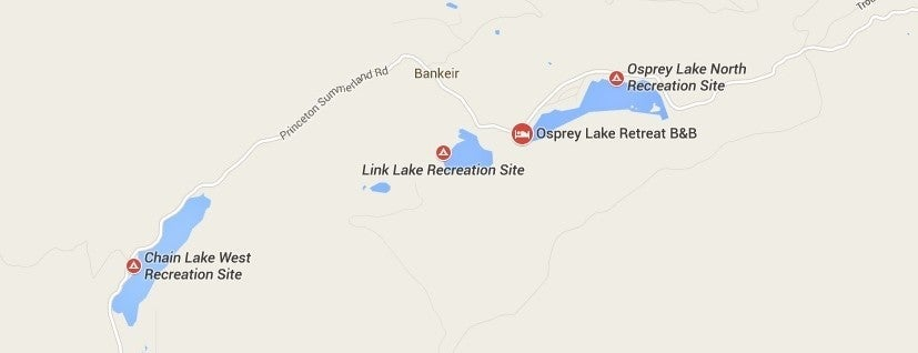 Campground Locations fro Chain Lake, Osprey Lake and Link Lake