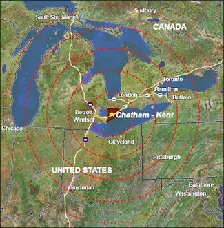 Map of Chatham Kent location in Ontario