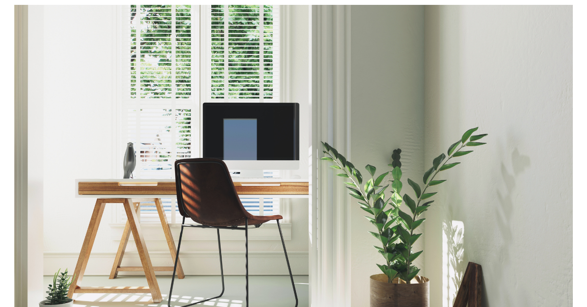 Home Office with a window and plant
