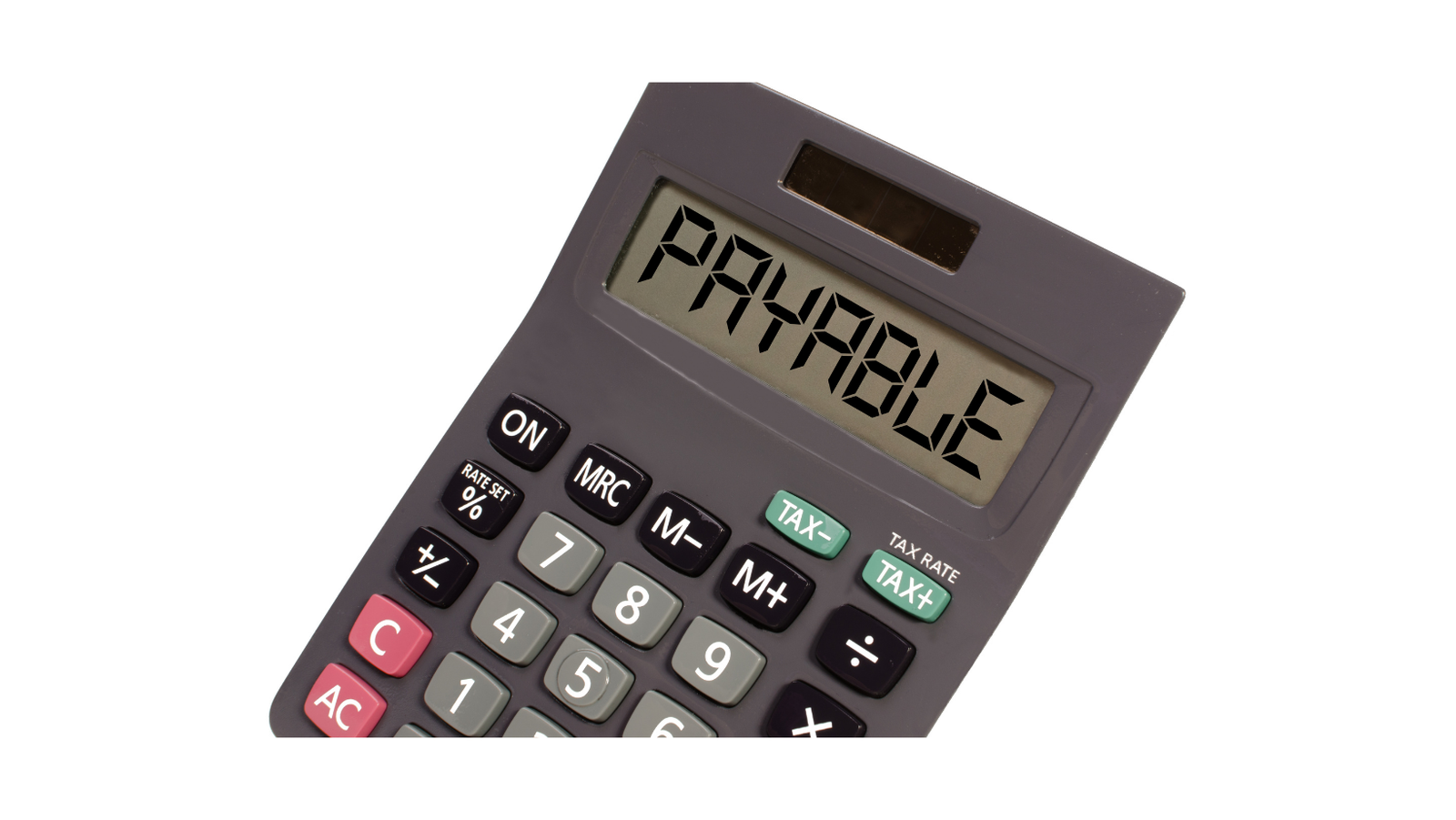 Calculator with word payable on screen