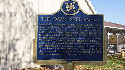 The Dawn Settlement Plaque