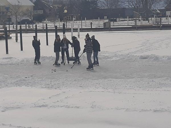 Hockey game at the Marina