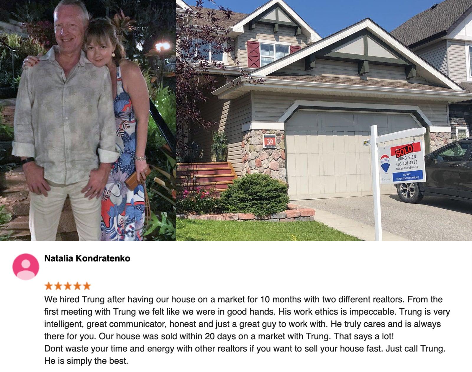 Trung Bien - Realtor Calgary - ReMax Real Estate Central -  downsizing testimonial