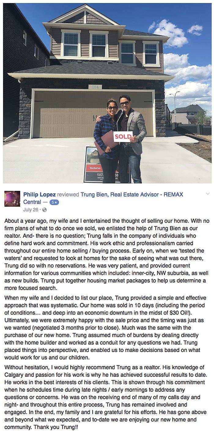 Trung Bien - Realtor Calgary - ReMax Real Estate Central -  Home Buyer testimonial