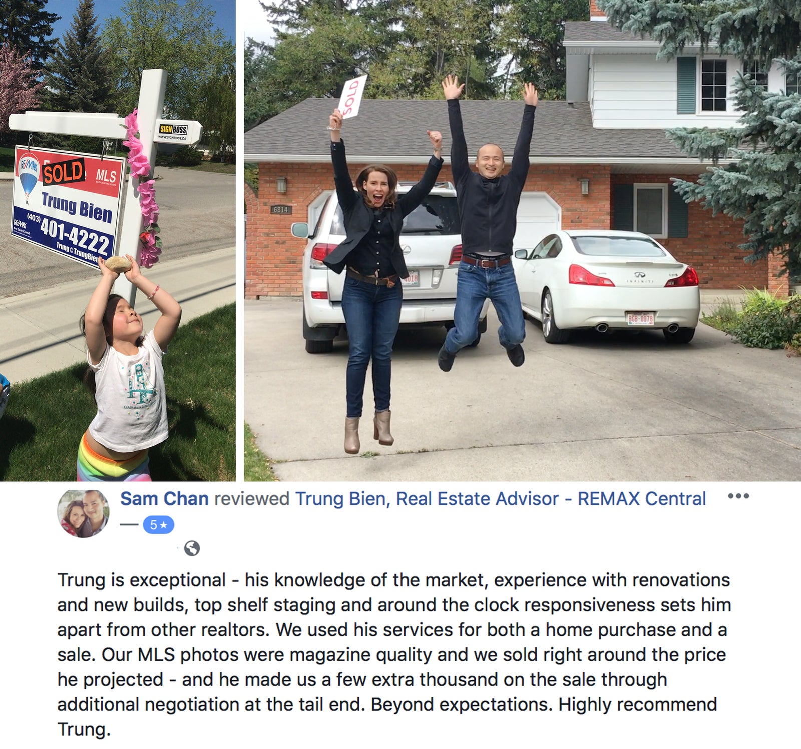 Trung Bien - Realtor Calgary - ReMax Real Estate Central -  Seller testimonial