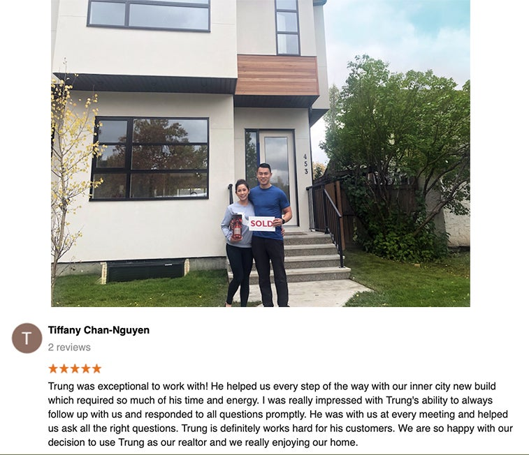 Trung Bien - Realtor Calgary - ReMax Real Estate Central -  Luxury - Inner City testimonial