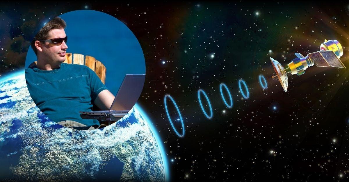 satellite and man on laptop internet in Muskoka image
