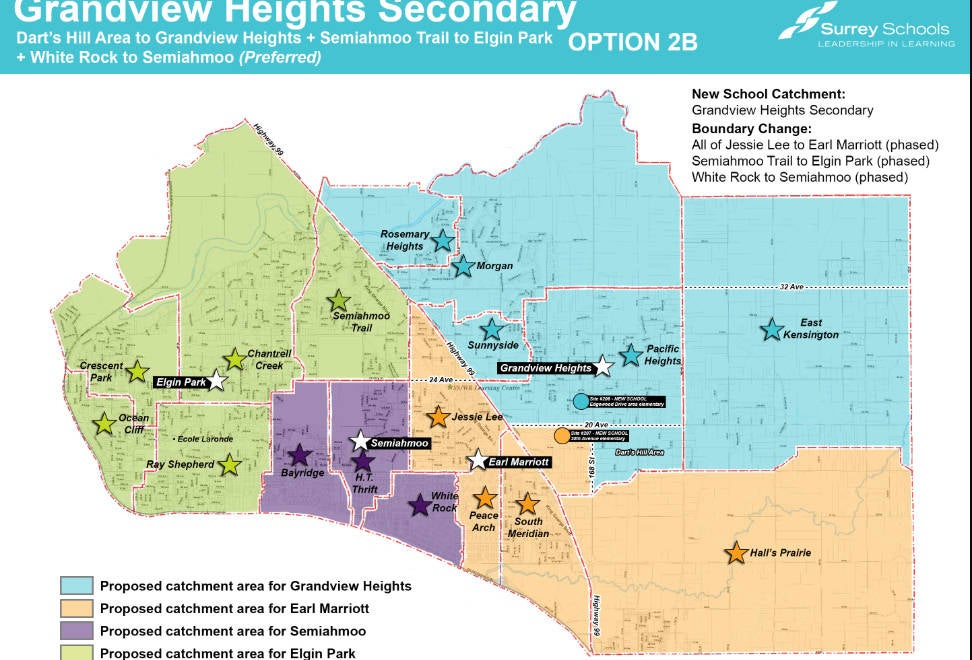 School Catchments for schools in South Surrey, Ocean Park, and White Rock