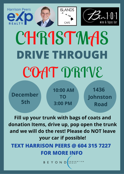 Christmas Coat Drive on Johnston Road in front of Bin101 with Islands Cafe