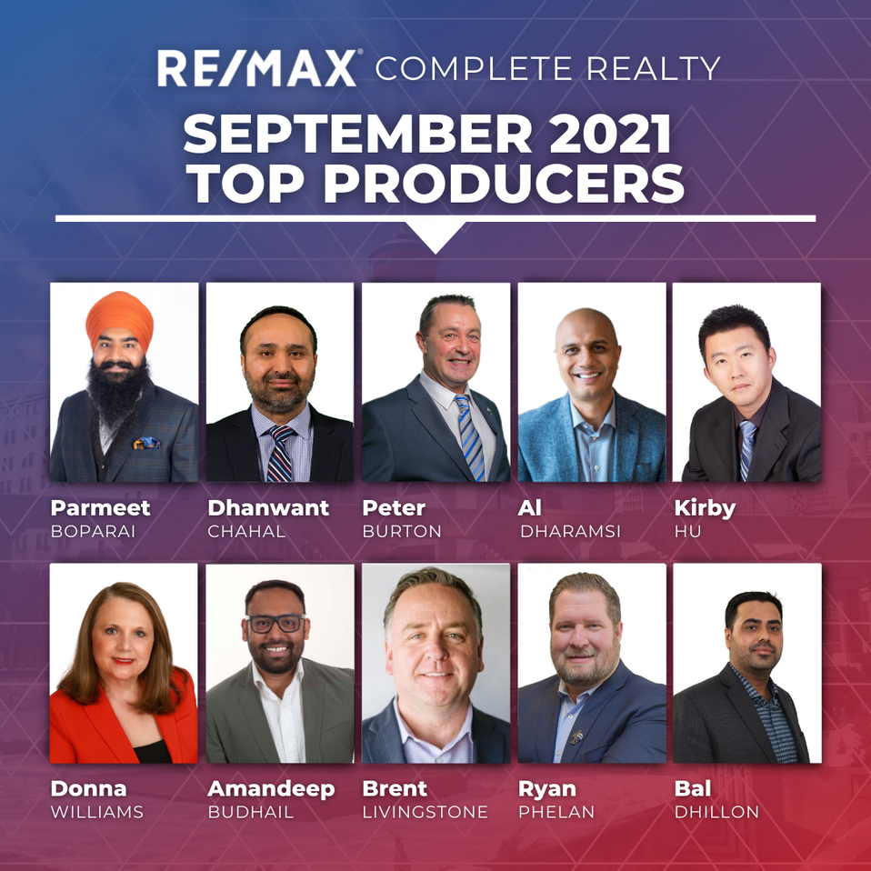 Calgary RE/MAX Complete Realty Top Producing Agents 2021